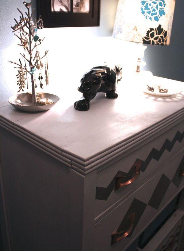 DIY Chevron Painted Dresser